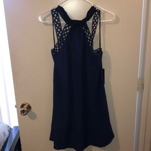Blue lace halter dress